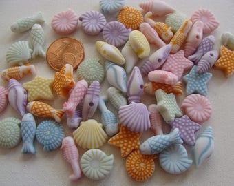 50 perles acryliques MER PLAGE VACANCES création bijoux loisirs déco