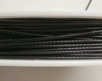 Fil cable 1mm bobine 8m Noir fil gaine crinelle Cordon DIY création bijoux