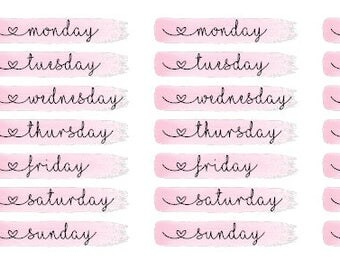 Painted Brush Stroke with Days Of The Week Font for ECLP, Happy Planner, Monthly Views or TN
