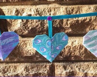 Lilac and teal paper bunting, peacock, feathers, bunting, christening, nursery, children's room, baby shower, purple, buttons, ribbon
