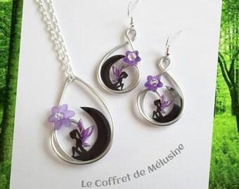 Collier et Boucles d'oreilles fée sur la Lune noir, fleurs et ailes violet