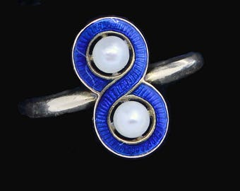 Antique Victorian Ring 18k Gold Pearls Blue Enamel French Napoleon III (#6346)