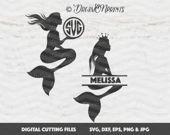 Mermaid SVG, Mermaid Monogram SVG, Beach Svg Files, Split Mermaid Svg, Split Monogram Svg, Circle Monogram Svg, Nautical Svg SVDP282