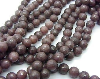 38 jade 10 mm chocolate brown faceted beads