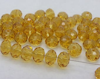 50 beads 6 mm glass crystal 6 mm Abacus has beige Sun faces