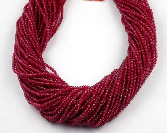 2 Strand Red Aventurine  Rondelle 2.10mm Micro Faceted Gemstone Beads 13 inch Long