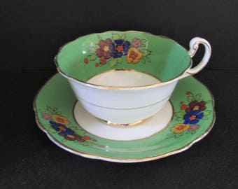 Rare 1920's Foley Green Tea cup, Saucer/ EB Foley Brain & Co, Hand Painted blue pink floral, Wide Teacup, saucer