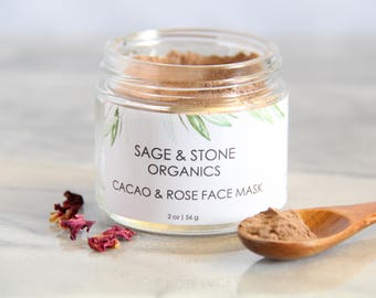 Cacao + Rose Organic Face Mask | Rose Face Mask | Chocolate Face Mask | Vegan Face Mask | Antioxidant Face Mask