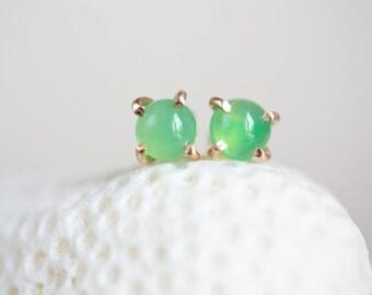 Chrysoprase Earrings, Chrysoprase Gold Earrings, Green Gemstone Earrings, Chrysoprase Studs, Chrysoprase Post Earrings