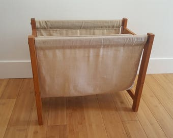 Teak and Fabric Magazine Rack