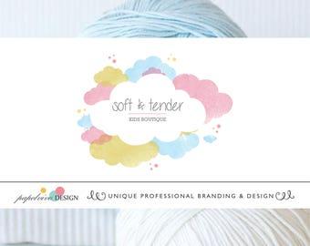 Sweet watercolor premade logo design Baby logo design Children boutique logo Pastel color clouds logo Branding package - B8