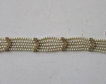 Vintage Pearl Rhinestone Bracelet Delicate & Lovely Safety Chain