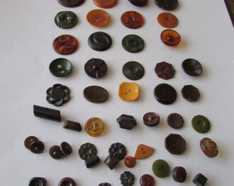 Vintage Lot of 50 Bakelite Buttons Butterscotch Green Brown Rootbeer
