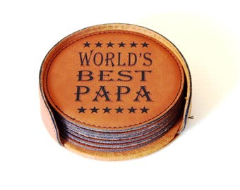 World's Best Papa Gift-Coaster Set, Grandpa Christmas Gift, Grandfather Birthday Gift, Father's Day Gift for Papa, Coasters, CAS009