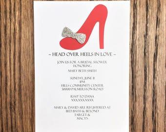 Stiletto Heel Birthday Invitations | High Heels Invitation | Head over Heels Invitation | Stilettos Invitation | Red and Silver Invitations