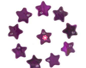 Star charm 10 x 12mm purple Pearl (190 d)