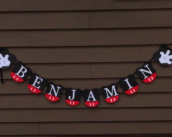 Personalized Mickey Mouse Birthday Party Banner,Mickey Mouse Banner, Mickey Mouse Clubhouse Birthday Party Decoration, Custom Banner