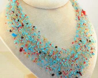 Air necklace Blue red beads Grit garnet Jewelry handmade beaded Crochet beads air necklace A gift for her Crochet necklace Beaded necklace