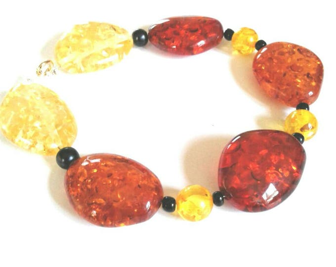 Glass Beaded Bracelet, Rust Bead,Yellow Bead, Black Bead, Statements Piece, Beadwork, Chunky Bead, Gift for Women, Classic Style, Bold Fun.