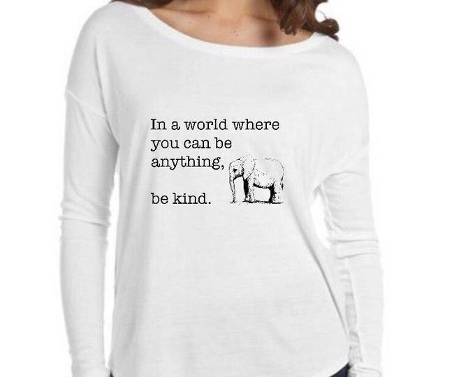 White BE KIND Long-Sleeved Elephant Shirt