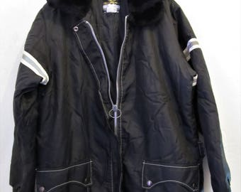 A Women's Vintage 60's,Black SNOWMOBILE Jacket By STEARNS.M(12)