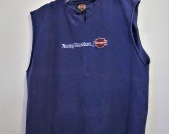 A Grunged Vintage 90's,Sleeveless Purple HARLEY-DAVIDSON T Shirt.L(42R)