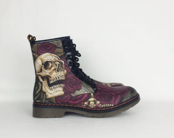 Skull boots, steampunk shoes, steampunk, alternative fashion, gothic shoes, women shoes, skull, goth, halloween clothing, Rock Your Sole