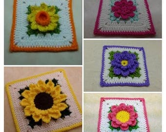 Awesome Deal! 5 Flower Granny Square Patterns! DIGITAL DOWNLOAD ONLY