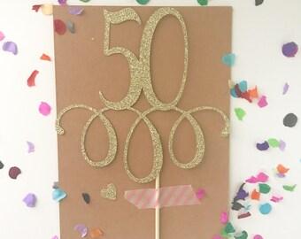 "Glitter ""50"" Cake Topper, fifty, 50th birthday, 50 birthday pick, glitter 50, Gold 50, glitter cake topper, Happy 50th Birthday"
