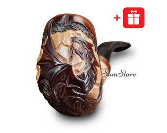 Groomsmen Gift Bachelor Party Gift DRAGON Smoking Pipe Tobacco Pipe CARVED Pipe Wooden Pipe Wedding Birthday Gift Ideas Custom Engraving
