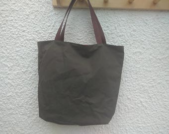 Waxed/Oilskin  Cotton bag - Leather handles