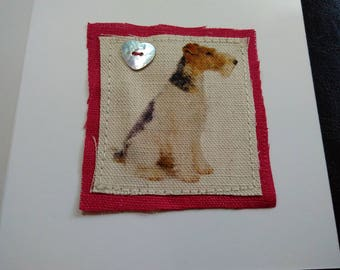 Wire Haired Fox Terrier card with Heart Button