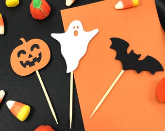 Halloween Cupcake Toppers, Ghost, Bat, pumpkin, Party Decor
