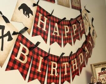Lumberjack Party Banner, Lumberjack Birthday Banner, Buffalo Plaid Party Banners, Buffalo Plaid Birthday Banner, Lumberjack Decor, DIGITAL