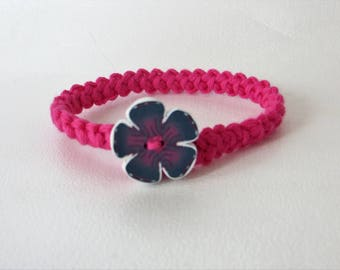 Cotton crocheted flower in Fimo bracelet