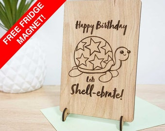 Happy Birthday, Lets Shellebrate! Wooden happy birthday / pun gift card. Hand made timber card.