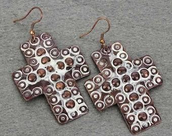 Handmade Cross Earrings - Copper Color