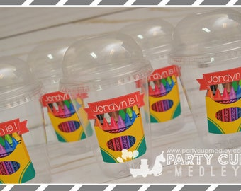 Crayon Birthday Party Favor Cups with Dome Lids or Party Cups, Lids & Straws