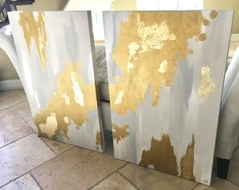 Mono Gold 36x24 original abstract painting on high quality, 1.5 in thick, gallery wrapped canvas
