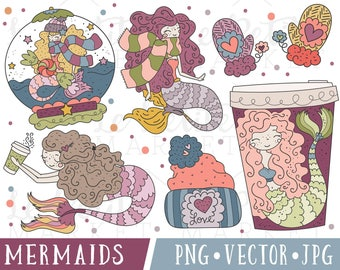 Cute Mermaid Clip Art, Pretty Mermaid Clipart, Winter Mermaids, Valentine Mermaids, Whimsical Mermaid Illustrations, Commercial Use Clipart
