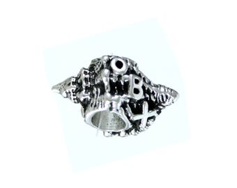 Outer Banks/OBX Conch Shell Large Hole Silver Bead - Compatible with ALL Popular Bracelet Brands - Made in the USA! - Item #13869