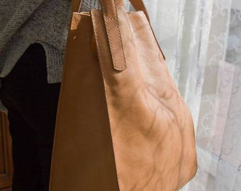 Tote bag, vegetable tanned leather,natural color,