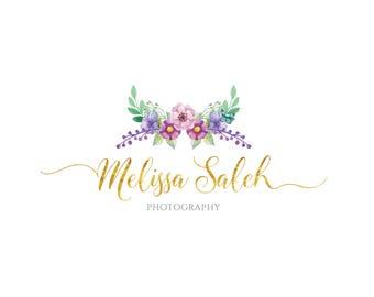 Floral Logo, Photography Logo, Premade Logo, Logo Design, Watercolor Logo, Flower Logo, Gold Logo, Feminine Logo, Natural Logo, Rustic Logo