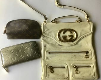 Authentic lot of Gucci Louis Vuitton Vintage repair Handbag wallet clutch cosmetic case lot Zippy Pochette 1K Blondie GG