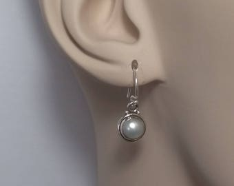 Tiny pearl earrings; 92.5 sterling silver, boho, freshwater, free shiping