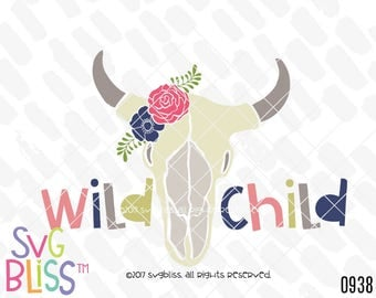 Wild Child SVG, Boho, Skull, Anlters, Floral, Kids, Baby, Cute, Nursery, Original, DXF, Cut File, Cricut & Silhouette Compatible Design