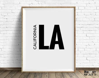 Printable wall art print City printable art Los Angeles art print Digital Los Angeles sign LA California city print LA typography art poster