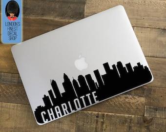 Charlotte City Skyline Macbook / Laptop Decal