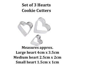 3 small heart shaped cookie cutter for cake decorating Great for other crafts