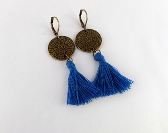 Bronze ornement and teal tassel earrings